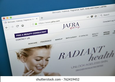 LONDON, UK - NOVEMBER 25TH 2017: The homepage of the official website for JAFRA Cosmetics - global manufacturer of beauty products, on 25th November 2017.