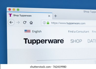 LONDON, UK - NOVEMBER 25TH 2017: Homepage of the official website for Tupperware - the home products line that includes preparation, storage, containment and serving products, on 25th November 2017.