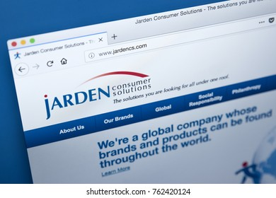 LONDON, UK - NOVEMBER 25TH 2017: The homepage of the official website for Jarden - the American consumer products company, on 25th November 2017.