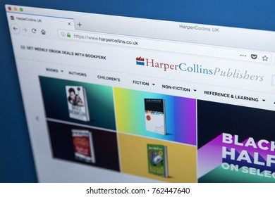 LONDON, UK - NOVEMBER 25TH 2017: The homepage of the official website for HarperCollins Publishers - one of the largest publishing companies in the world, on 25th November 2017.