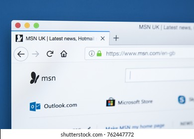LONDON, UK - NOVEMBER 25TH 2017: The homepage of the official website for MSN - the online web portal and related collection of internet services and apps, on 25th November 2017.