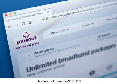 LONDON, UK - NOVEMBER 25TH 2017: The homepage of the official website for Plusnet plc - the British internet service provider, on 25th November 2017.