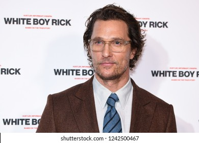 "LONDON, UK. November 27, 2018: Matthew McConaughey at the ""White Boy Rick"" screening at the Picturehouse Central, London.