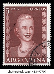 London, UK, November 28 2010 - Vintage 1952 Argentina cancelled postage stamp showing an engraved image of Eva Peron affectionately known as Evita