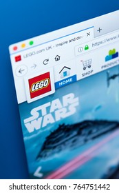 LONDON, UK - NOVEMBER 28TH 2017: The homepage of the official website for Lego - the  line of plastic construction toys that are manufactured by The Lego Group, on 28th November 2017.