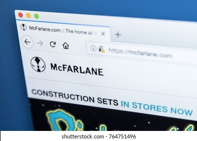 LONDON, UK - NOVEMBER 28TH 2017: The homepage of the official website for McFarlane Toys - the American toy company, on 28th November 2017.