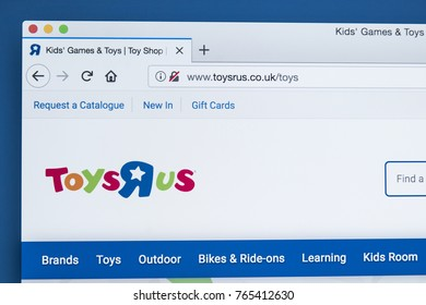 LONDON, UK - NOVEMBER 28TH 2017: The homepage of the official website for Toys R Us - the American toy products retailer, on 28th November 2017.
