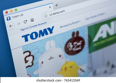 LONDON, UK - NOVEMBER 28TH 2017: The homepage of the official website for Tomy - the Japanese entertainment company that produces toys and merchandise, on 28th November 2017.