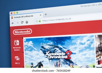 LONDON, UK - NOVEMBER 28TH 2017: The homepage of the official website for Nintendo - the Japanese multinational consumer electronics and video game company, on 28th November 2017.