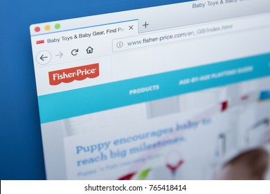 LONDON, UK - NOVEMBER 28TH 2017: The homepage of the official website for Fisher-Price - the American company that produces educational toys, on 28th November 2017.