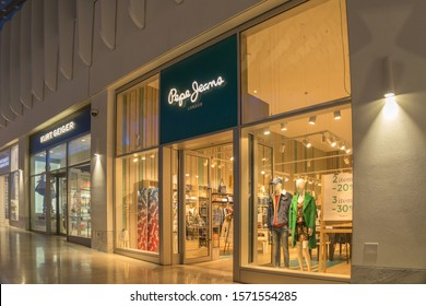 London, UK - November 2919: Pepe Jeans retail store front