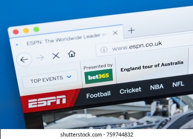LONDON, UK - NOVEMBER 2OTH 2017: The homepage of the official website for ESPN, also known as the Entertainment and Sports Programming Network television channel, on 20th November 2017.