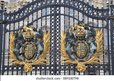 LONDON, UK - NOVEMBER 30, 2014: Main Buckingham Palace gate