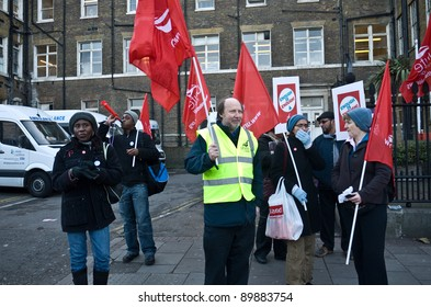 LONDON, UK- NOVEMBER 30:Striking workers from the heath and public sectors outside the Royal London Hospital, in response to government  planned  changes to pensions. November 30, 2011 in London UK.
