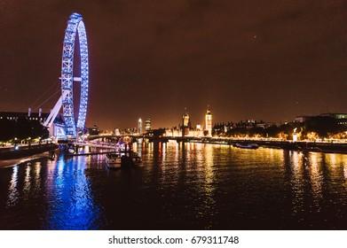 London, UK - November 6, 2013: Photo of the most important landmark of London, London Eye at night .