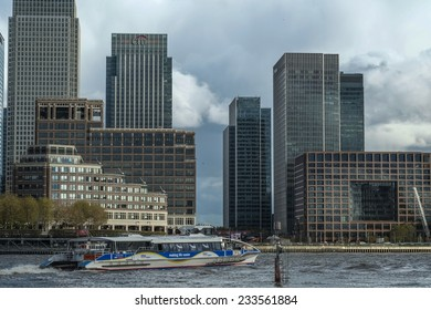 LONDON, UK - NOVEMBER 7 2014 - Mid Afternoon view of Canary Wharf London taken from the opposite side of the river Thames