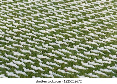 LONDON, UK - NOVEMBER 8, 2018: 'Shrouds of the Somme' installation by Rob Heard at Queen Elizabeth Olympic Park, London. The event is a commemoration of the 100th anniversary of the end of World War I