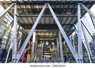 LONDON, UK - Oct 25: Leadenhall Building on October 25, 2014, in London, UK. 122 Leadenhall Street, Roger Stirk Harbour + Partners (Richard Rogers) designed building (the Cheesegrater) now completed.