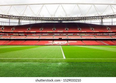LONDON, UK - OCT 5TH 2019: Empty seats of East Stand at the Emirates Stadium, the home of Arsenal Football Club.