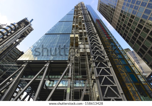 LONDON, UK - OCT 8: Leadenhall Building in construction on October 8, 2013, in London, UK. Roger Stirk Harbour + Partners (Richard Rogers) designed building (the Cheesegrater) completion due mid 2014.