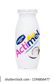 LONDON, UK - OCTOBER 05, 2018: Plastic bottle of Actimel probiotic yogurt type drink with coconut flavour. Produced by the French company Danone
