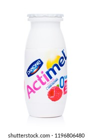 LONDON, UK - OCTOBER 05, 2018: Plastic bottle of Actimel probiotic yogurt type drink with raspberry flavour. Produced by the French company Danone