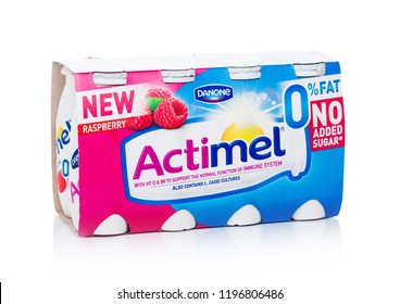 LONDON, UK - OCTOBER 05, 2018: Pack of Actimel probiotic yogurt type drink with raspberry flavour. Produced by the French company Danone