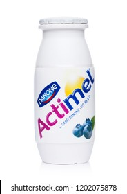 LONDON, UK - OCTOBER 05, 2018: Bottle of Actimel probiotic yogurt type drink with blueberry flavour. Produced by the French company Danone