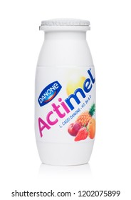 LONDON, UK - OCTOBER 05, 2018: Bottle of Actimel probiotic yogurt type drink with tropical fruits flavour. Produced by the French company Danone