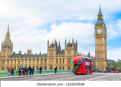 London, UK, October, 07, 2015 - Beautiful  view of Big Ben Clock Tower,  Westminster Brigde and Parliament Houses with the famous red buses