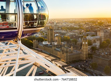 LONDON, UK - OCTOBER 1, 2015: Aerial view of Houses of Parliament and Big Ben from London Eye in Westminster, London England