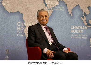 London / UK – October 1, 2018: Mahathir Mohamad, prime minister of Malaysia, speaking at the Chatham House thinktank in London.