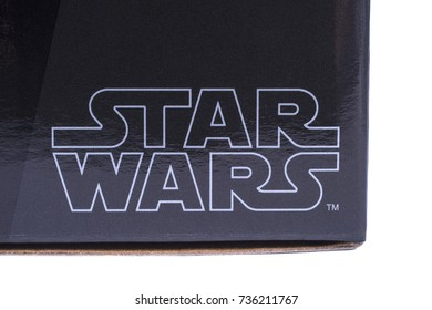 LONDON, UK - OCTOBER 10TH 2017: A close-up of the Star Wars logo on a product item, the Star Wars franchise is owned by Disney, on 10th October 2017.