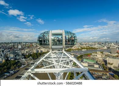 LONDON, UK - OCTOBER 11: London Eye over Thames River on oct 11 2014 in London, United Kingdom, Europe