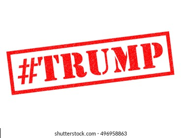 LONDON, UK - OCTOBER 11TH 2016: A #TRUMP red Rubber Stamp over a plain white background, on 11th October 2016.