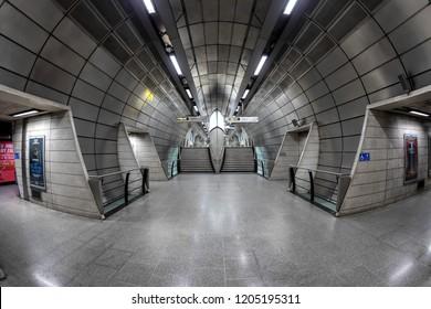 London, UK - October 11th 2018: the futuristic architecture of the London underground tube station Southwark