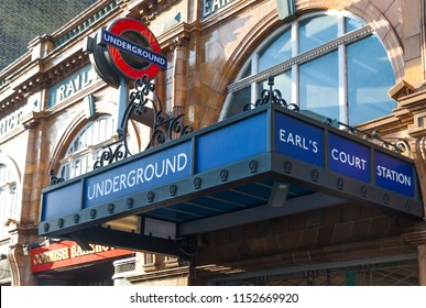 LONDON, UK - OCTOBER 12, 2009 - Main entrance of the Earl's Court underground station in London