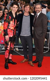 "LONDON, UK. October 13, 2018: Timothee Chalamet, director Felix van Groeningen & Steve Carell at the LFF screening of ""Beautiful Boy"" at the Cineworld Leicester Square"
