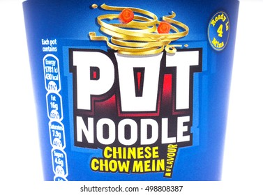 LONDON, UK - OCTOBER 13TH 2016: A shot of the label on Pot Noodle product over a plain white background, on 13th October 2016.  The product is made by the Unilever company.