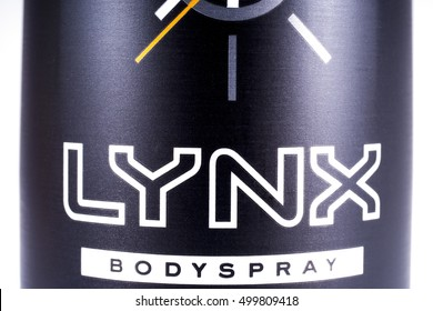 LONDON, UK - OCTOBER 13TH 2016: A close-up shot of the Lynx bodyspray brand Logo, on 13th October 2016.  The Lynx product brand is owned and produced by the Unilever company.