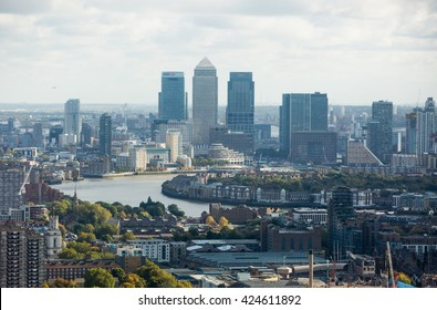 LONDON, UK - OCTOBER 14, 2015. Canary Wharf and River Thames
