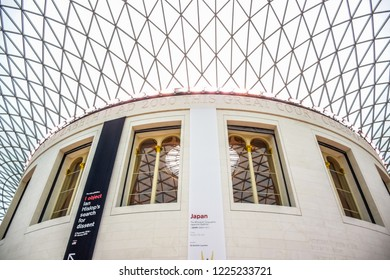 LONDON, UK - OCTOBER 14, 2018: The British Museum, a public institution dedicated to human history, art and culture located in Bloomsbury, London, in the United Kingdom