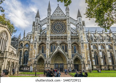 LONDON, UK - OCTOBER 15, 2016: People near Westminster Abbey (Collegiate Church of St Peter at Westminster). Westminster - traditional place of coronation of English monarchs.