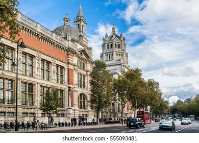 LONDON, UK - OCTOBER 15, 2016: Facade of Victoria and Albert Museum (1852) in London. Victoria and Albert Museum - world's largest museum of decorative arts and design.