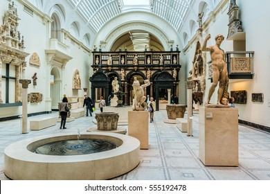 LONDON, UK - OCTOBER 15, 2016: Interior view of Victoria and Albert Museum (was founded in 1852). Victoria and Albert Museum - world's largest museum of decorative arts and design.