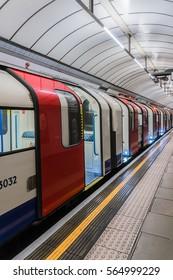 LONDON, UK - OCTOBER 15, 2016: Platform at Pimlico Underground Station. Victoria line station opened on 14 September 1972. City of Westminster, England, United Kingdom.