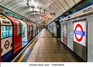 LONDON, UK - OCTOBER 15, 2016: Interior of Pimlico Underground Station. Victoria line station opened on 14 September 1972. City of Westminster, England, United Kingdom.