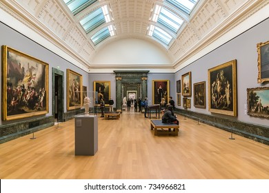 LONDON, UK - OCTOBER 15, 2016: Interior of Original Tate Gallery, now renamed as Tate Britain (from 1897 - National Gallery of British Art). It is part of the Tate network of galleries in England.