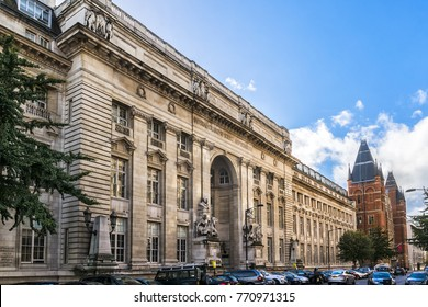 LONDON, UK - OCTOBER 15, 2016: Old building of Imperial College of Science and Technology (1913): Royal School of Mines entrance. Prince Consort Road, Kensington, London.