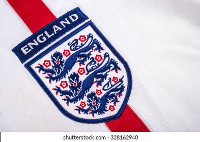 LONDON, UK - OCTOBER 15TH 2015: The Three Lions on an England football shirt, on 15th October 2015.